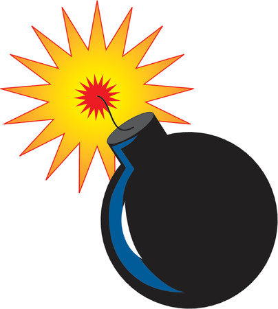 Bomb with ignited fuse ready to explode Stock Illustratie