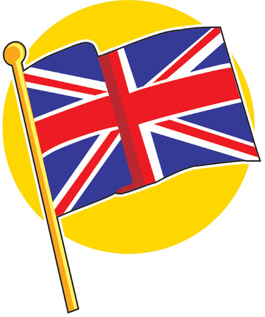 english culture: The British flag on a yellow circle Illustration
