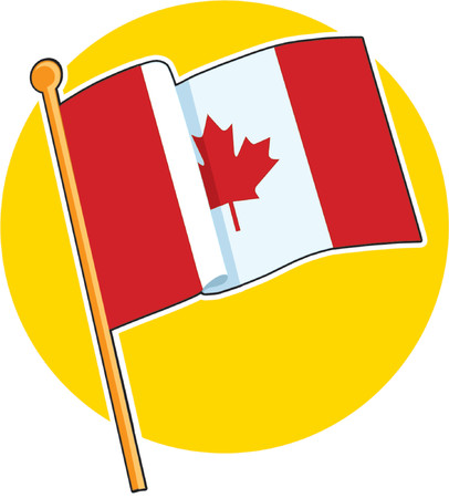 english culture: The Canadian flag on a yellow circle