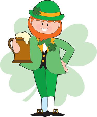 chope biere: Leprechaun irlandais faire un toast avec une bi�re