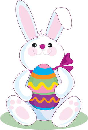 The Easter Bunny holding a big Easter Egg