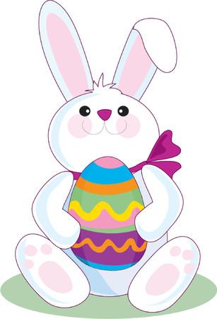 'easter egg': The Easter Bunny holding a big Easter Egg