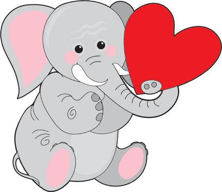 elephant holding a heart in his trunk