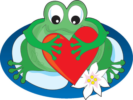 Frog sitting on a lilypad holding a big heart