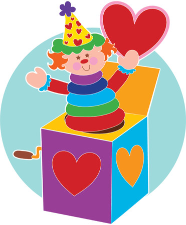 jack in a box: Jack in a Box holding a red heart Illustration