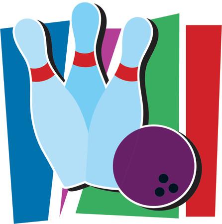 Drie bowling pinnen en een bowling bal Stock Illustratie