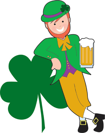clover face: Leprechaun leaning on a shamrock with a beer