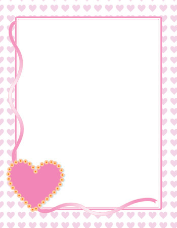Heart background with pink ribbon and flowers