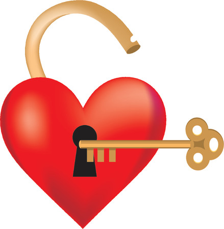 locked: Heart shaped like a lock with a key Illustration