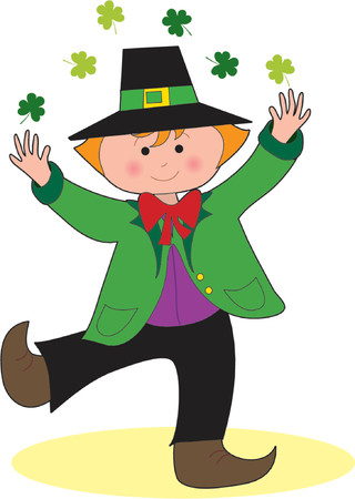 clover face: A Leprechaun dancing and tossing shamrocks over his head Illustration