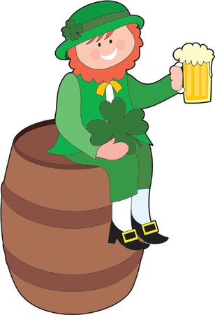 Leprechaun sitting on a beer keg with a beer Stock Vector - 755651