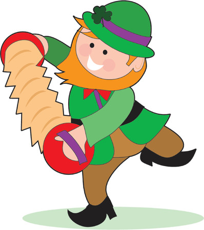 An Irish Leprechaun playing and accordion and dancing Stock Vector - 755652
