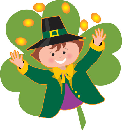 clover face: Leprechaun tossing coins over his head on a shamrock background