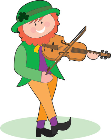 An Irish Leprechaun playing a violin and dancing Stock Vector - 755643