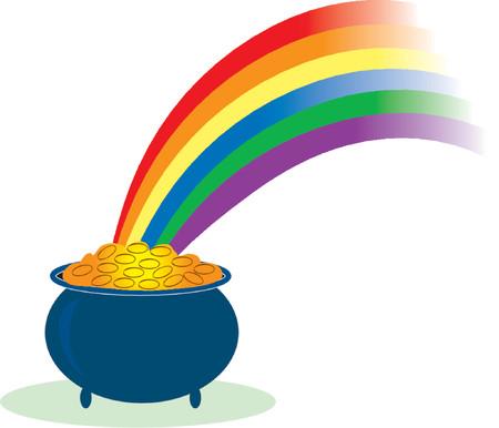 Pot van goud met een regenboog schijnt in Stock Illustratie