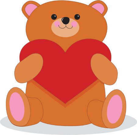 Brown Teddy bear holding a big red heart
