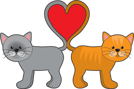 Cat Tail Hearts Stock Vector - 825983