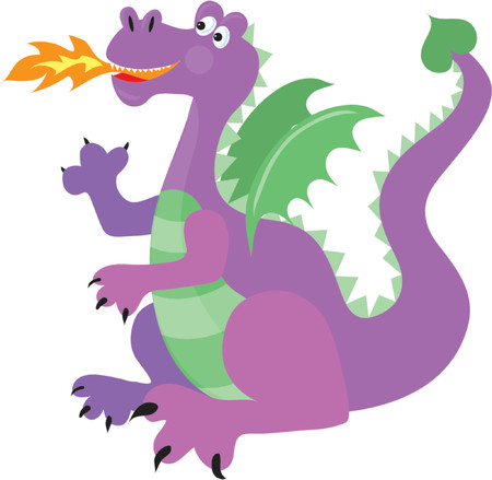 Happy purple dragon with green wings breathing fire Illustration
