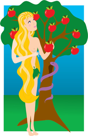 Eve in the Garden of Eden with the Snake Illusztráció