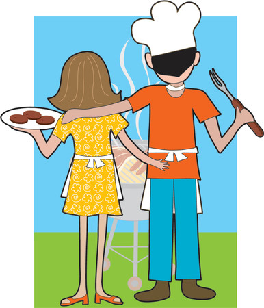 wedding dress back: A couple standing at a Barbeque waiting for their food to be cooked Illustration