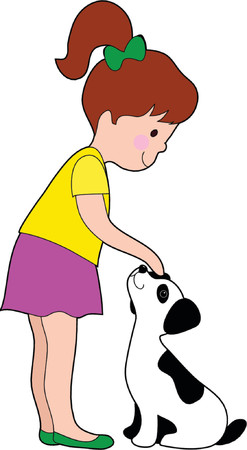 hair bow: A little girl patting a young dalmation pup