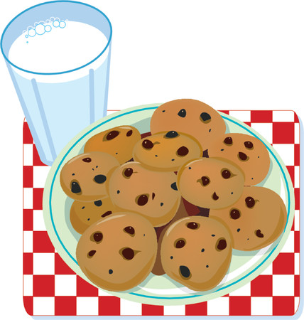 A glass of milk and a plate of cookies Ilustração