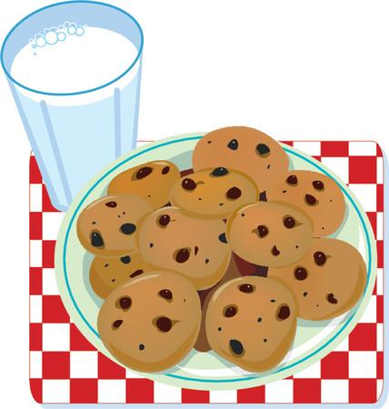 vaso de leche: Un vaso de leche y un plato de galletas  Vectores