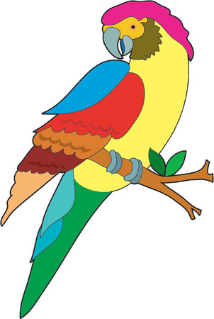 Mooie kleurrijke papegaai zittend op een tak