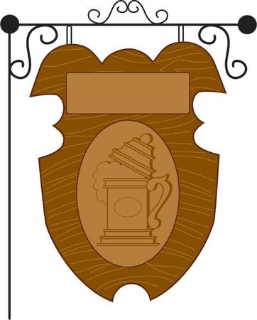 stein: Un pub di legno con un segno Stein e spazio vuoto