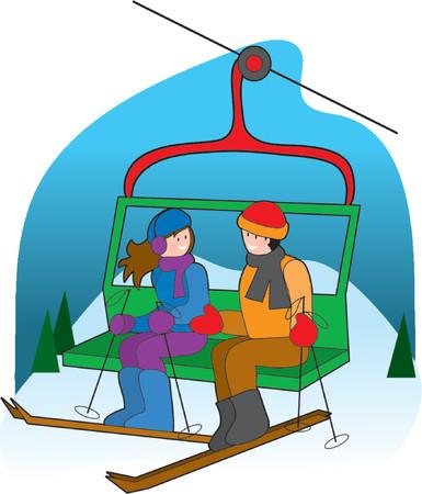 스키 리프트에 채팅 커플 일러스트