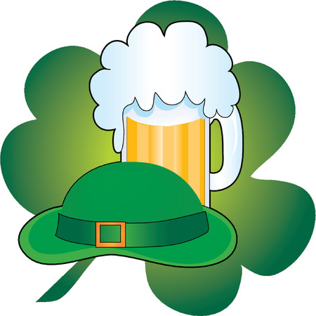 chope biere: Green Hat avec une chope de bi�re et d'un tr�fle