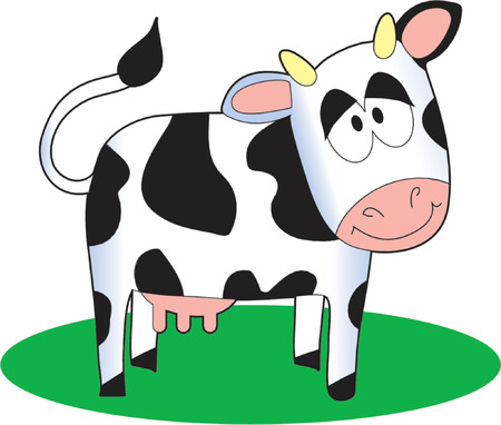 Funny cartoon cow standing on a patch of grass