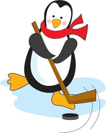 the puck: Penguin playing hockey with stick and puck Illustration
