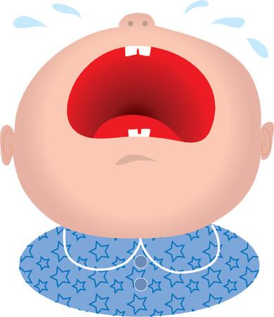 Bébé garçon pleure avec sa large bouche ouverte Banque d'images - 825960