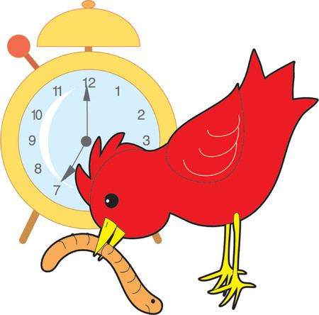 Red bird catching a worm with an alarm clock in the background Stock Illustratie