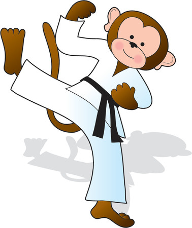 Monkey in a white gi doing a karate high kick