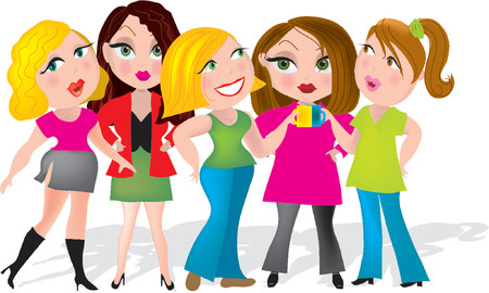 women coffee: Group of five ladies having a coffee break at work Illustration