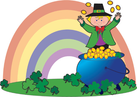 rainbow background: Leprechaun tossing coins over his head with a pot of gold and a rainbow in the background
