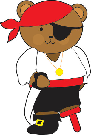wooden leg: Teddy bear dressed as a pirate with a wooden leg Illustration