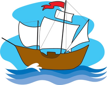 An old sailing with with sails up on the high seas Illustration