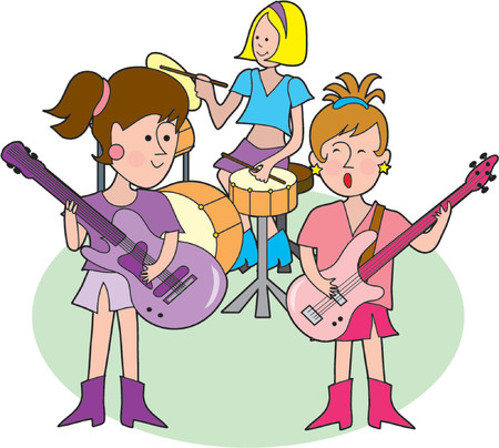 cymbals: Rock band with three hip little girls Illustration