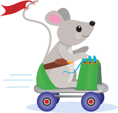 Little Mouse having a ride on a rollerskate Ilustracja