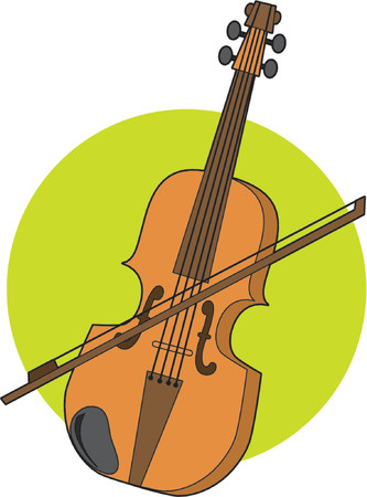 Violin and bow on a green circle background