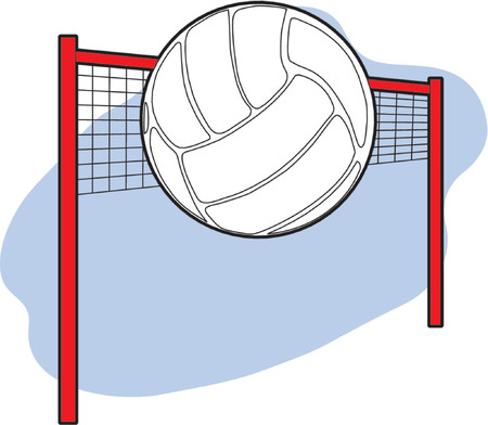 volleyball: Volleyball in the air with net in the background Illustration