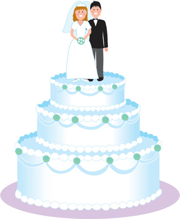 tiers: Couple standing on top a wedding cake