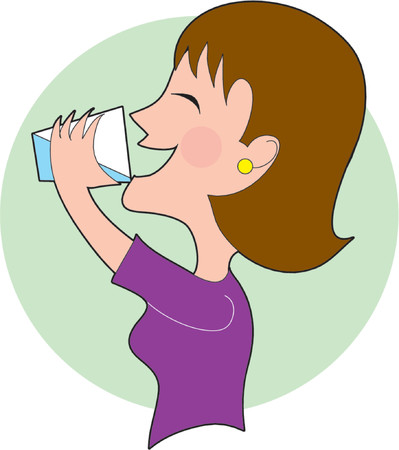 A woman drinking a glass of water Stock Vector - 825989