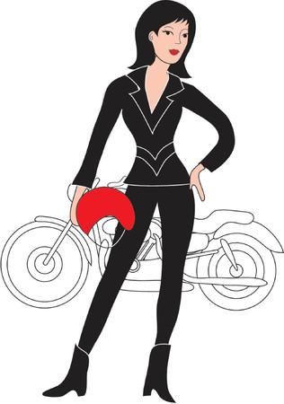 motorrad frau: Sch�ne Motorradfahrer gekleidet in schwarzem Leder