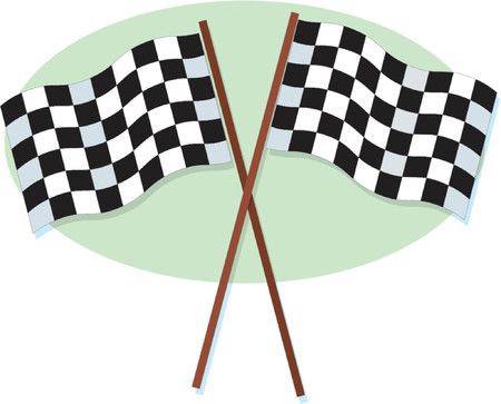 A crossed pair of checkered racing flags Illustration