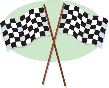A crossed pair of checkered racing flags Ilustração