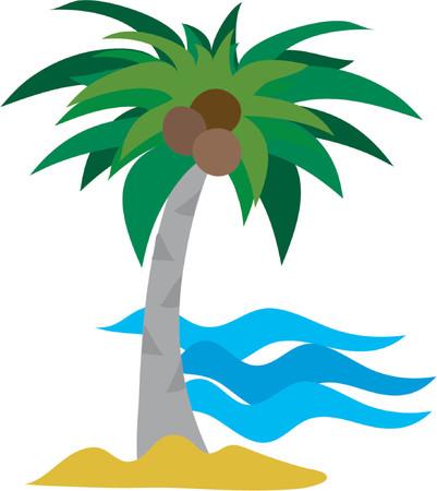 Eine einzige Palme gegen einen Ozean Hintergrund  Illustration